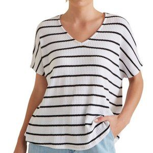 Seed Heritage Striped Textured Knit Tee Top XS
